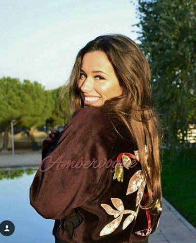 Size Floral Burgundy 14 Jacket Zara 12 L Embroidered Velvet CqRCw6X