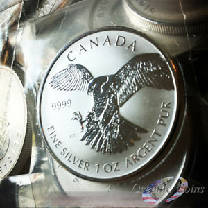 2016 $5 Canadian Maple Leaf Rev Pf. .9999 Fine SILVER 1 oz Peregrine Falcon