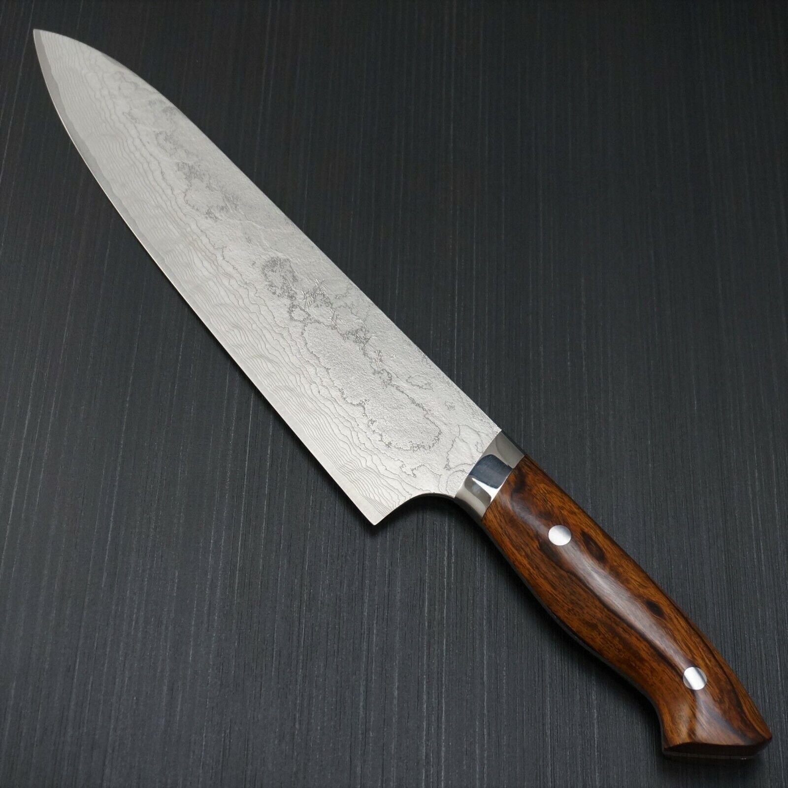 Japanese Katayama Super Gold 2 Damascus Gyuto Chef Knife 240mm Ironwood Japan