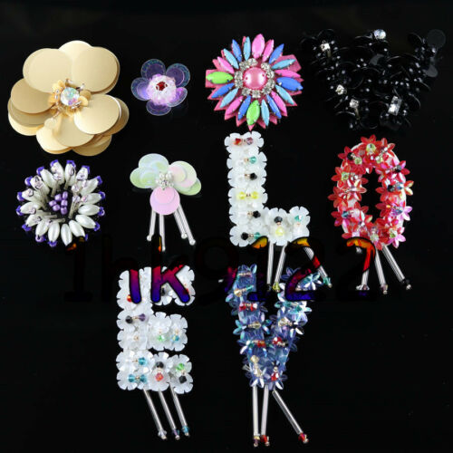 Hand sew flowers Patches glass resin,crystal rhinestones clothing applique H63