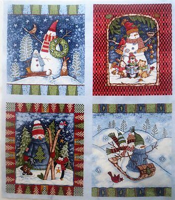 "B Christmas Snowmen Fabric Caroling Cat Sled Tobaggan 9"" x 10.5"" Quilt Blocks"