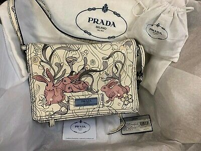 b50c60602bfd4a NWT Prada x James Jean Small Bunny Rabbit Print Glace Etiquette Crossbody  Bag