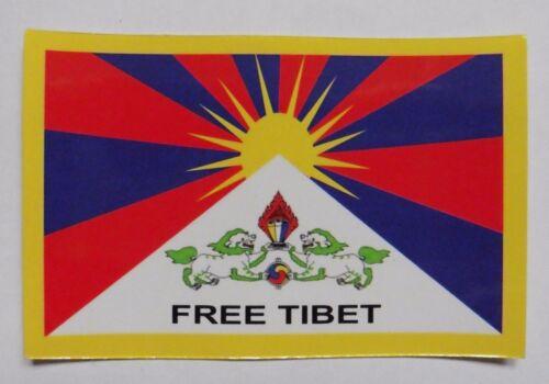 Free Tibet protesta pacífica Rectángulo Pegatina de una sola cara 9cm X 5.8cm
