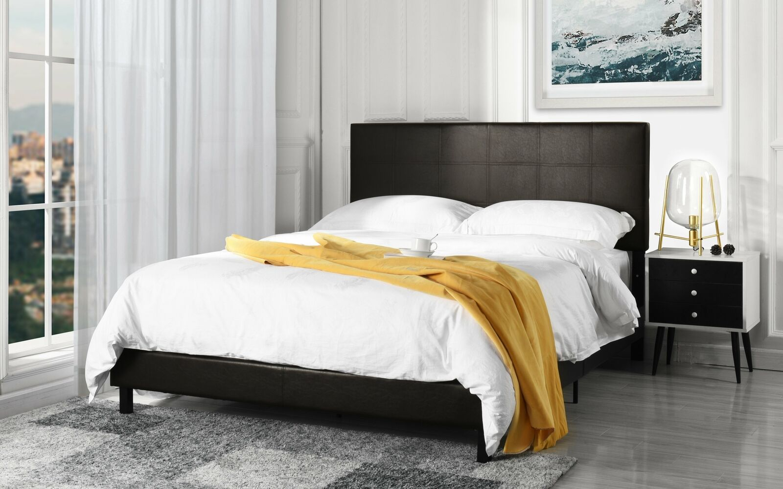 Faux Leather Full Bed Head Board Modern Decor Tufted Height Adjustable Black For Sale Online Ebay