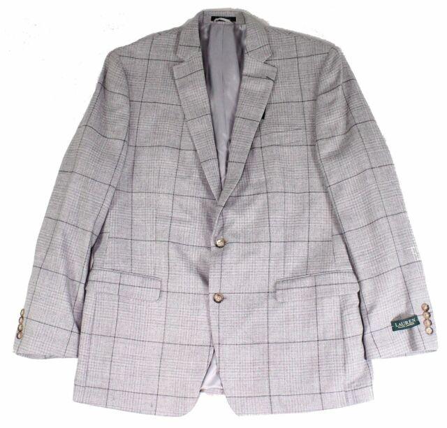 Lauren by Ralph Lauren Mens Sport Coat Gray Size 48 Windowpane Wool $375 #175