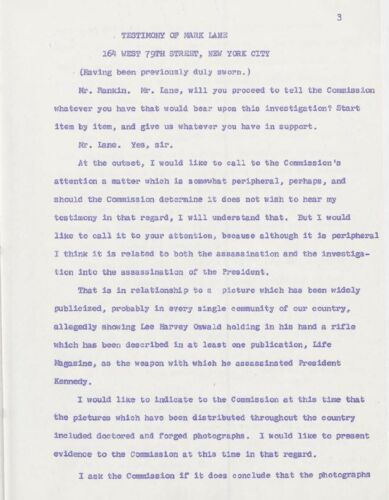 Mark Lane FBI /& Warren Commission Files Kennedy Assassination John F