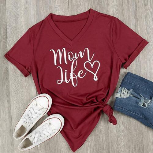Women Mom Life Letter Print Short Sleeve Blouse V Neck T-Shirts N3