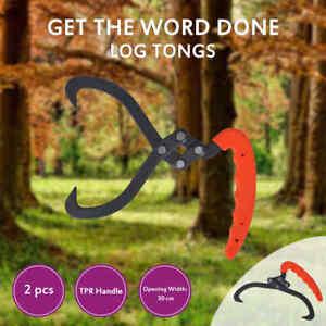 vidaXL 4x Log Tongs with PVC Handle 30cm Camping Outdoor Timber Tuff Lifting