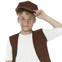 CHILDRENS KIDS BOYS VICTORIAN URCHIN BROWN HAT CAP FANCY DRESS ACCESSORY