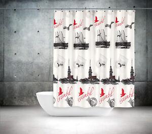 Duschvorhang Textil 180x200 Cm Ringe Istanbul Kiz Kulesi Bosporus