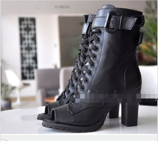 Women's Open Toe Lace Up Buckle Sandals Chunky Chunky Chunky Heel PU Leather Ankle Boots Y798 c77b1b