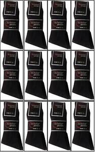 6,12  Pairs Lot Men/'s Dress Socks Solid Black Colors Crew Knocker Size 10-13