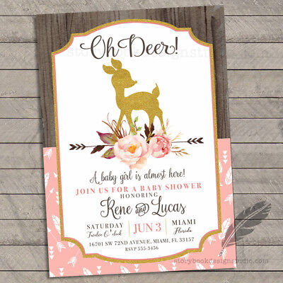Oh Deer Baby Shower Invitations Deer Floral Country Chic Set of
