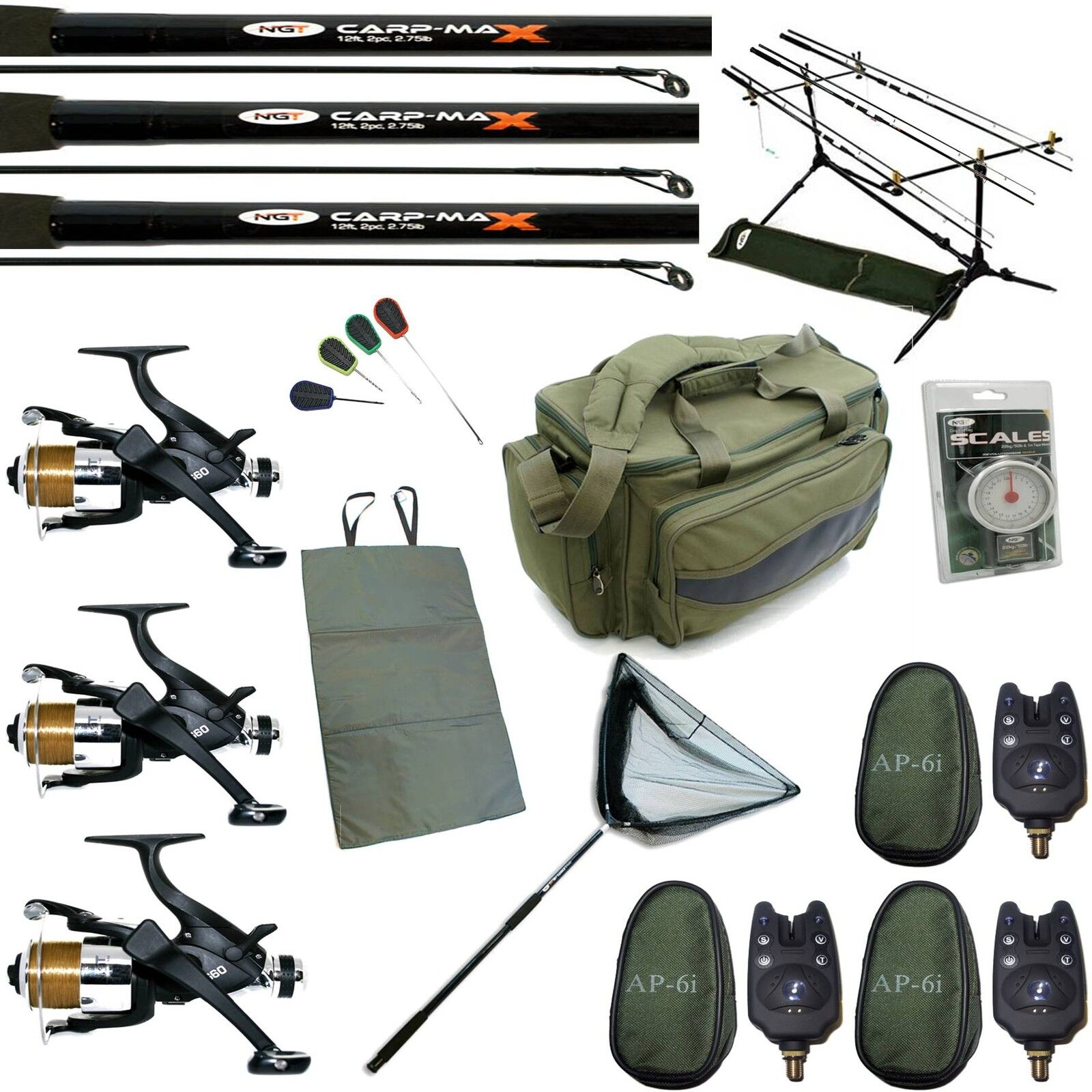 Full Carp Fishing set up 3 Rods 3 Reels Bag Alarms Net 4pc Green Insulated bag