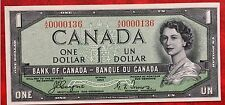 1954 Canada Paper Money $1 P-66 Devil's face Hairdo Uncirculated