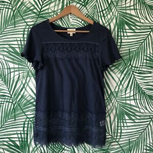 Anthropologie-Deletta-Lace-Panel-Linen-Blend-Top-Women-s-Size-XS