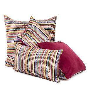 Nuevo-Suave-Tejido-Terciopelo-Multicolor-Rojo-Moderno-Estampado-De-Rayas-Tela