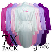 7 Pack Bridal Wedding Bride Bridesmaid Dressing Gowns Satin Robes Personalised
