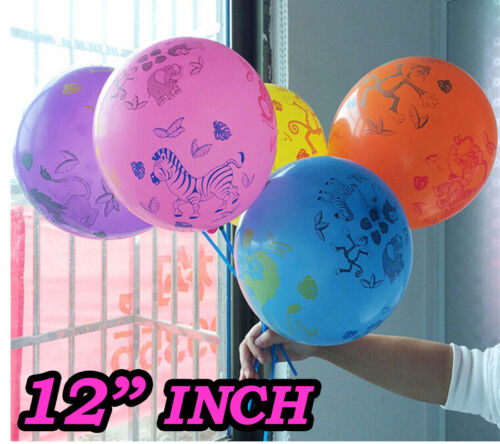 "Safari Animal Print 12/"" Latex Balloons Multi Animal Patterns Designs Pack of 10"