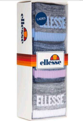 GIRL/'S Ellesse Gris Chaussettes Pack de 3 Nouveau Pack De 3 WOMEN/'S Ellesse Sport Gris Chaussettes