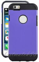 For Iphone 6 4.7 Inch Phone Dual Layer Black Purple Hybrid Soft Hard Case Cover
