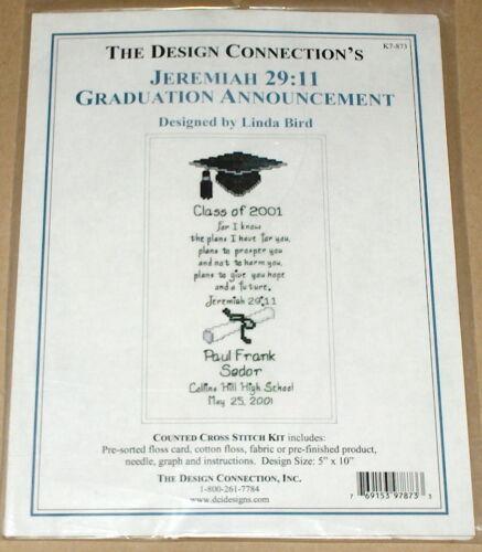 "/""Jeremiah 29:11 Graduation Announcement/"" Religious Cross Stitch Kit NIP 5x10/"""