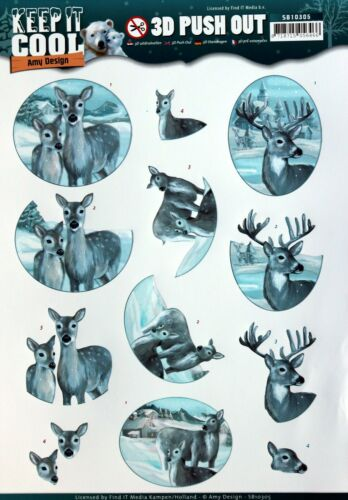 A4 DIE CUT 3D PAPER TOLE DECOUPAGE Push Out Sheet Reindeer Stags Does Snow
