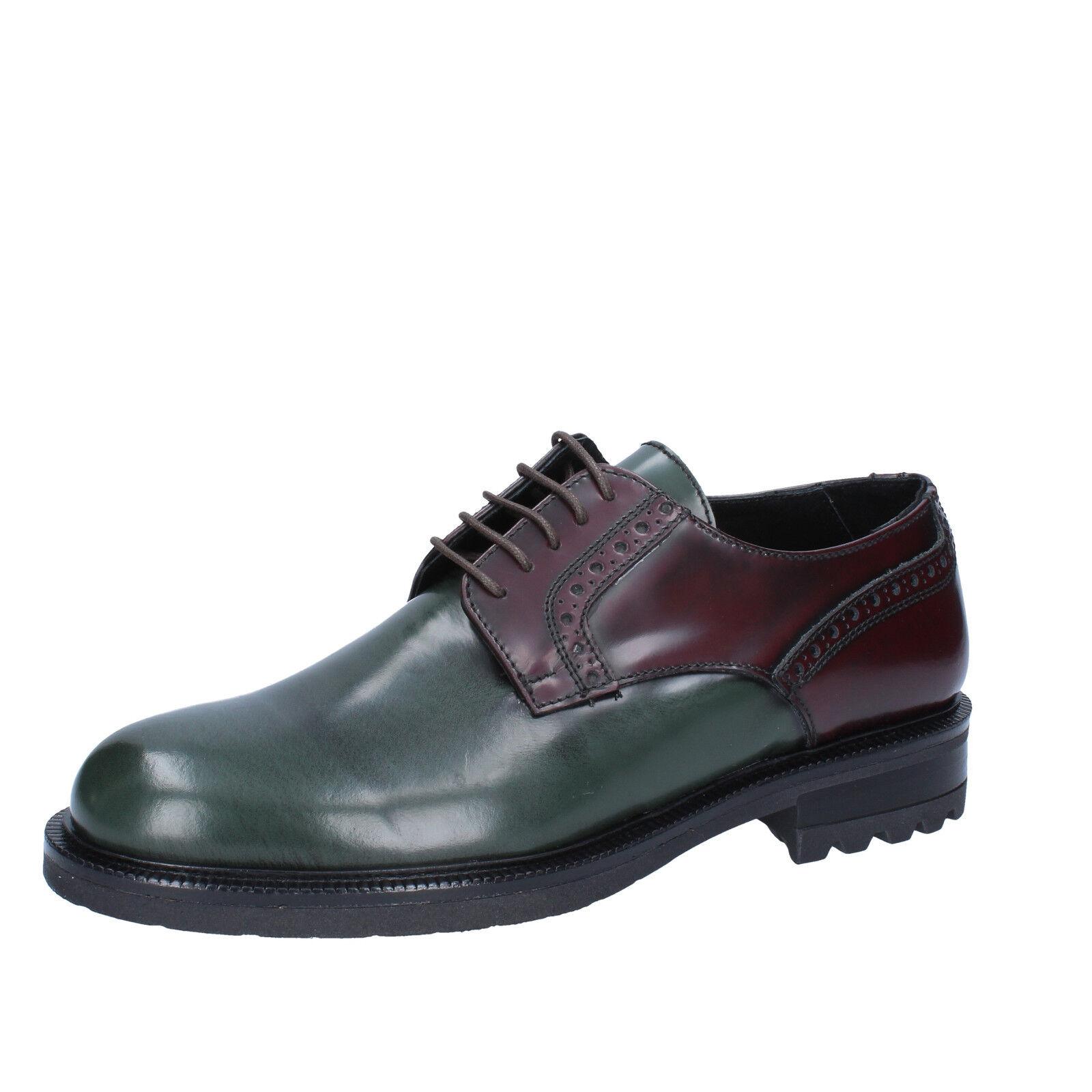 Men's shoes SALVO BARONE 8 (EU 41) elegant burgundy green shiny leather BZ183-C