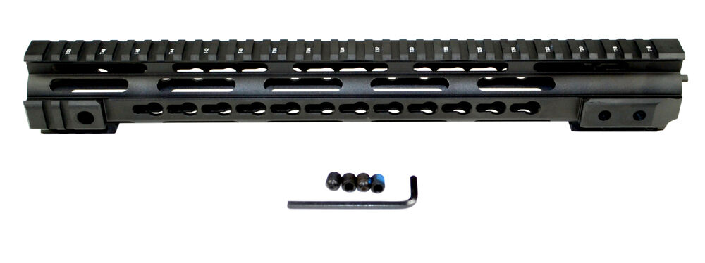 PRESMA Handguard 15  One Piece Free Float Slim Quad Rail Keymod Free Nut Anodize