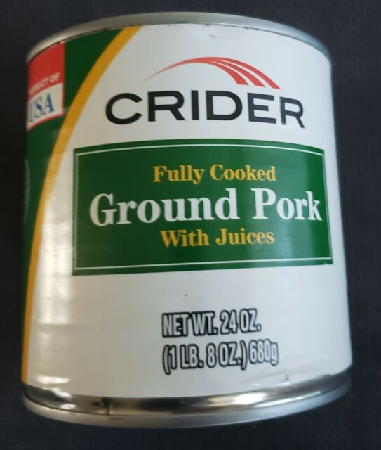 Lot-6 Cans Of CRIDER Fully Cooked Ground Pork w/ Juices 24 Oz. Each Can - Sealed
