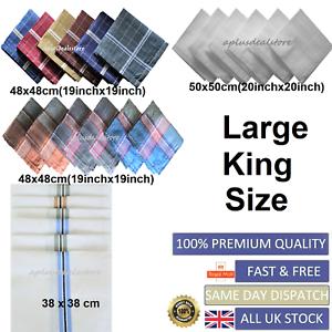 100-Mens-Cotton-Handkerchiefs-Large-Gents-King-Size-White-Dark-Color-Lot