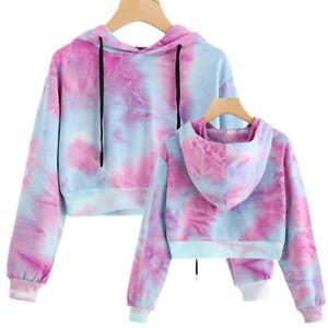 a8a9b36fa3a399 Details about Women Striped Hoodie Sweatshirt Jumper Sweater Crop Top Sport  Pullover Tee Tops