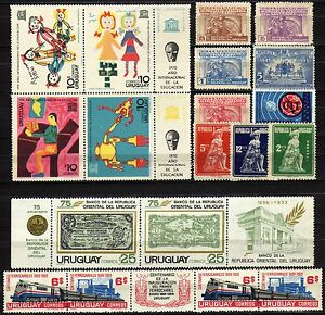 Uruguay-Lotto-di-19-francobolli-Nuovi-MNH