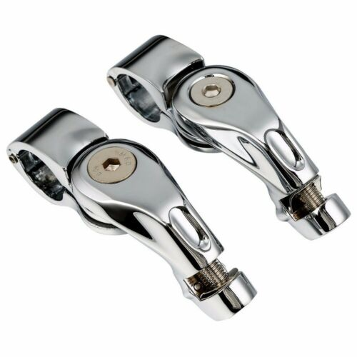 """1.25/"""" Adjustable Duty Foot Pegs Footpegs Highway Engine Guard Clamps For Harley"""