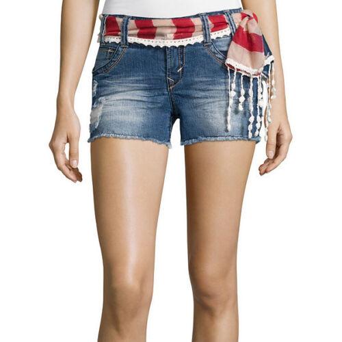 Wallflower Belted Americana Denim Shorts Size 3 New Msrp $36.00 Aura