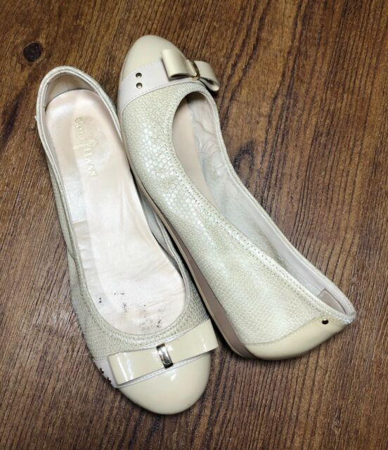 4ed909cc7f Cole Haan Air Women's 6.5 Beige Leather & Patent Cap Toe Ballet Bow Flats  Snake
