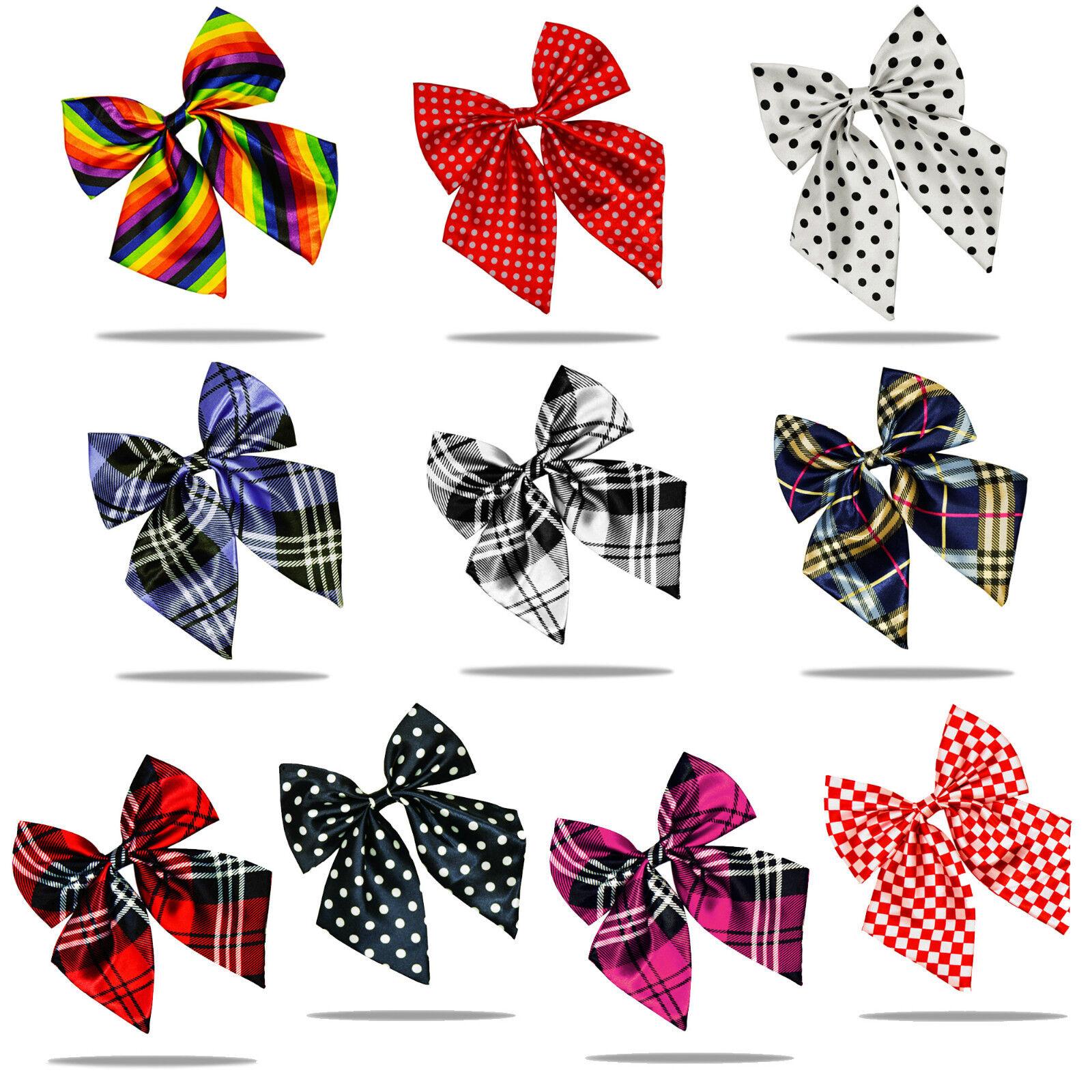 Fashionable Women Ladies Girls Satin Novelty Bow Tie Tartan Polka Dots Pre Tied