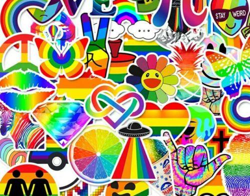 50 RAINBOW STICKERS-VINYL STICKER WATERPROOF-SCRAPBOOKING-GAY PRIDE-GRAFFITI