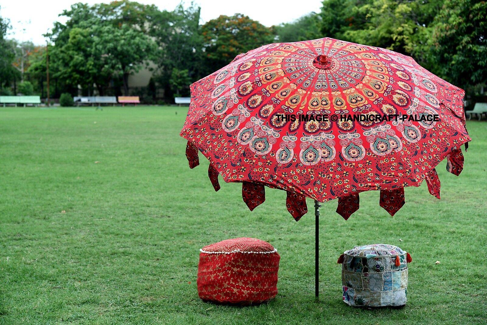 Indian Garden Parasol Outdoor Peacock Mandala Cotton Sun Shade Patio Umbrella