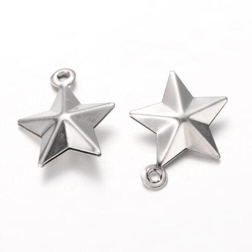 20x Acier Inoxydable 304 Star Charms en acier inoxydable couleur 14.5x12.5x4mm Trou 1 mm