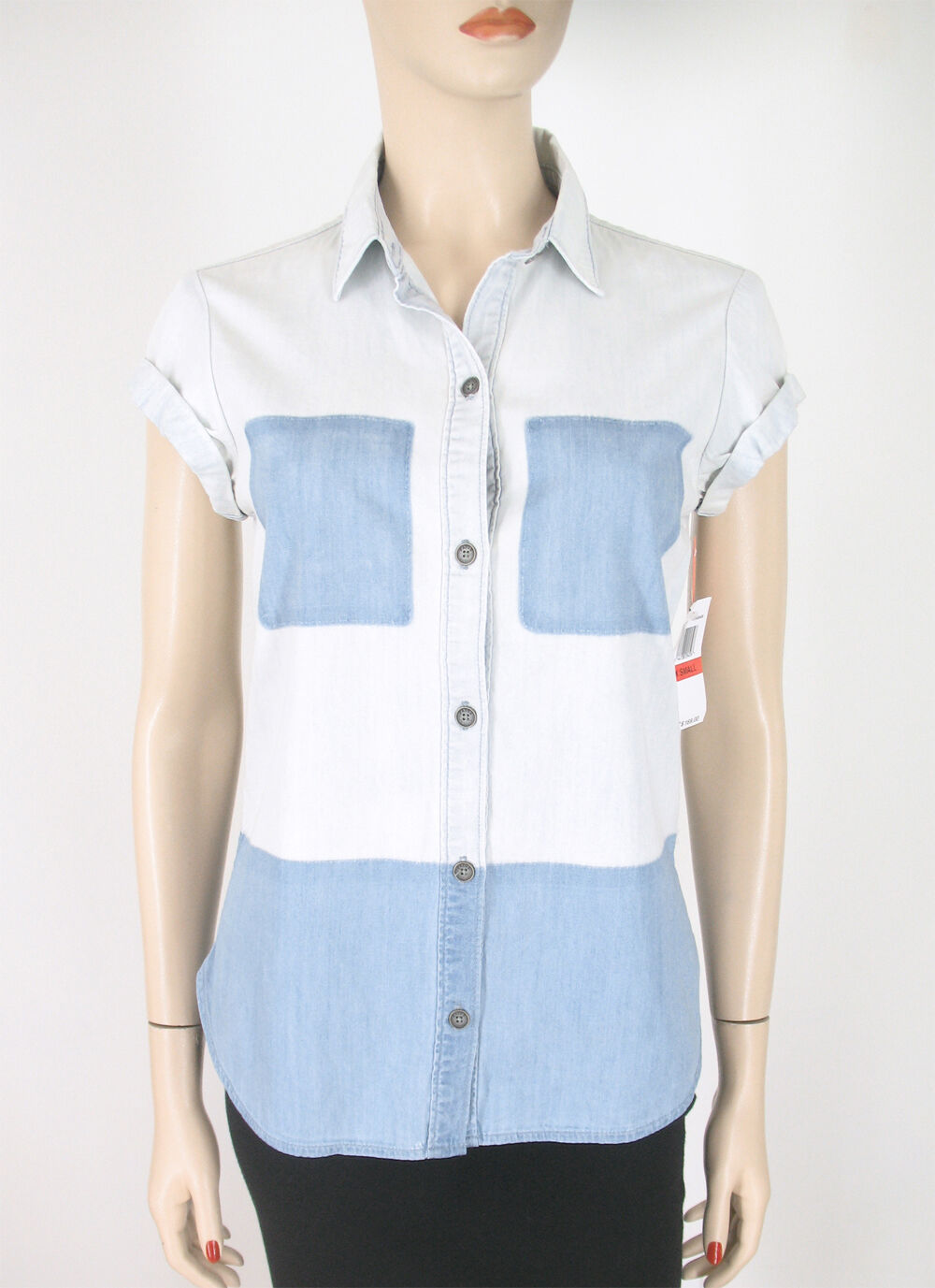 Paige Amelia Two Tone Denim Shirt Top Faded Blau XS  9753 BM14