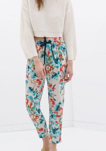 Pantaloni donna tipo tuta morbidi in chiffon bianco fiori moda  6103