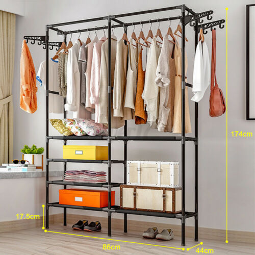 68In 150lbs Rolling Garment Rack Heavy Duty Commercial Clothes Hanger Hook USA