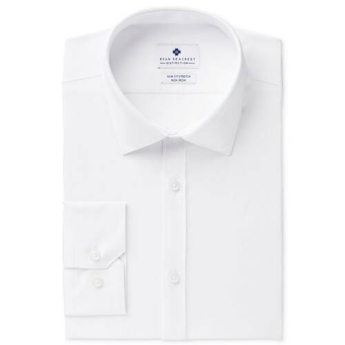 $145 RYAN SEACREST Men SLIM-FIT STRETCH WHITE LONG-SLEEVE DRESS SHIRT 16 34//35 L