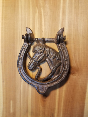 NEW CAST IRON DOOR KNOCKER RUSTIC WESTERN CABIN DECOR COWBOY HORSE  HORSE SHOES