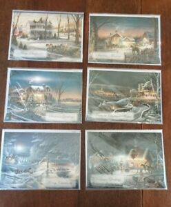 New-Terry-Redlin-Christmas-Greeting-Cards-Lot-of-6-With-Matching-Blue-Envelopes
