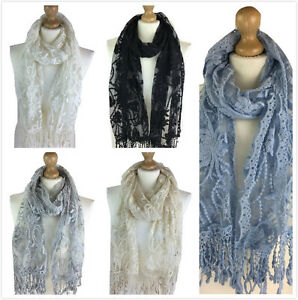 NEW WOMEN LACY SCARF LADIES SCARVES LACE HIGH QUALITY NECKERCHIEF PASHMINA SCARF