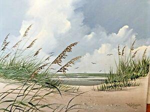 Vintage-Rex-Duggar-Original-Painting-Tybee-Island-Savannah-Georgia-Beach-Dunes