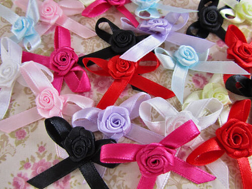 80 Hand Made Satin Ribbon Bow /& Rose Top//Flower//Craft//Trim//Sewing F26-Pick Color