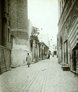 TUNISIE-Tunis-une-Rue-Photo-Stereo-Vintage-Plaque-Verre-VR4L3n7
